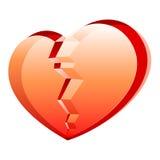 Broken heart. Vector illustration of a broken heart on white back Royalty Free Stock Photography