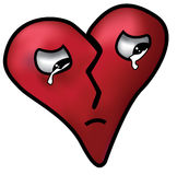Broken Heart. A sad and crying broken heart Royalty Free Stock Photography