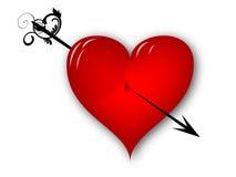 Broken heart. 3d red broken heart with black arrow Royalty Free Stock Image