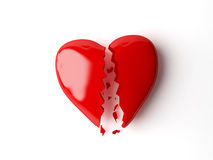 Broken heart. 3d broken heart  isolated white Royalty Free Stock Photography