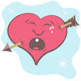 Broken heart with arrow. Funny vector illustration of cartoon  broken heart with arrow Stock Photography