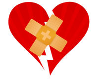 Broken heart with a band aid Royalty Free Stock Image