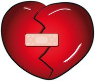 Broken heart with a band aid Royalty Free Stock Photography