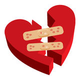 Broken heart band-aids. Vector illustration of 3D broken heart with band-aids Stock Images