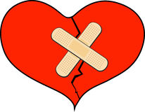 Broken heart with bandage stock photography