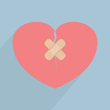 Broken heart with bandage. VECTOR, EPS10 Royalty Free Stock Images