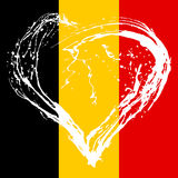 Broken heart on Belgium flag  background Stock Images