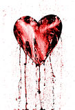 Broken heart - bleeding heart. Detail of the painted heart - symbol of love - in grunge style Royalty Free Stock Photos