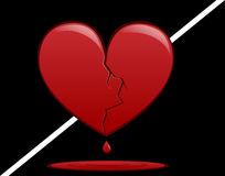 Broken Heart. Bleeding from suffering a broken heart Stock Photo