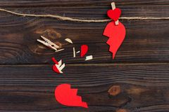 Broken heart breakup collection and divorce icon. Red paper shaped as a torn love , health care problems due to illness. Broken lo. Ve concept royalty free stock photos