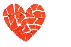 Broken heart breakup concept separation and divorce icon. Red cr Royalty Free Stock Photos