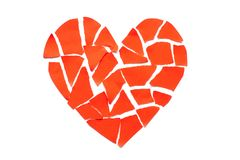 Broken heart breakup concept separation and divorce icon. Red cr Royalty Free Stock Photography