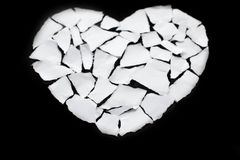 Broken heart breakup concept separation and divorce icon. White Stock Photography
