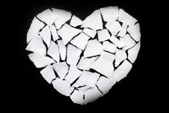 Broken heart breakup concept separation and divorce icon. White Royalty Free Stock Photo