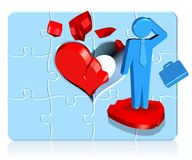 Broken Heart Businessman. Three dimension style and high quality image Stock Image