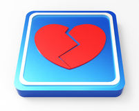 Broken Heart button 3D. Broken heart with crack button 3D illustration Royalty Free Stock Image