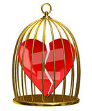 Broken heart in the cage. On a white background Royalty Free Stock Photography
