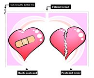Broken heart - card. Double-sided postcard for Valentines Day. Print the postcard, cut along the dotted lines, fold in half and ready to write your message Stock Illustration
