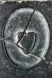 Broken heart, carved in stone Royalty Free Stock Photos