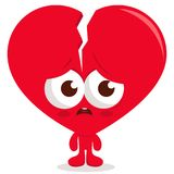 Broken heart character. Broken heart cartoon character. Vector illustration Royalty Free Stock Images