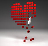 Broken heart composed from red cubes Royalty Free Stock Photos