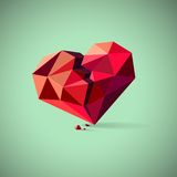 Broken heart consisting of triangles with pieces Royalty Free Stock Photos