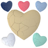 Broken heart dried cracked isolated. Broken cracking heart. Changeable to porcelain (auto level) or color clay texture. Fragile, end of love Royalty Free Stock Image