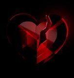 Broken heart-crystal with black veil Royalty Free Stock Photos