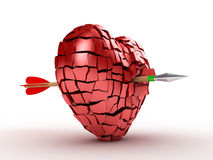 Broken Heart. 3D image of broken heart with arrow on white background Stock Images