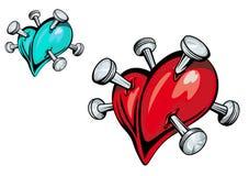Broken heart design. Broken heart with nails for t-shirt design Stock Photography
