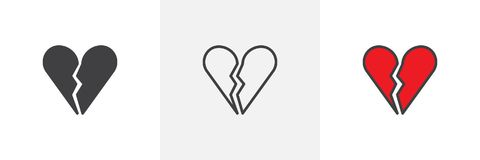Broken heart different style icons Royalty Free Stock Photos