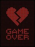 Broken Heart, Divorce / Break Up LED Lights. Image of a broken heart displayed on a matrix of red LED lights Stock Photos