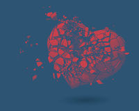 Broken heart drawing illustration on blue BG. Red broken heart with pen and ink drawing illustration style on blue background Royalty Free Stock Photo