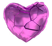 Broken heart glossy pink symbol Royalty Free Stock Photos
