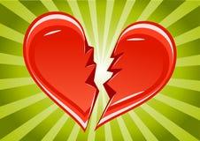 Broken heart. On green background Stock Illustration