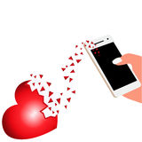Broken heart with a hand phone. 3d Stock Photography