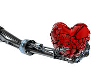 Broken heart in hand of robot on white background Stock Photo