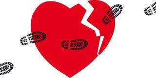 Broken heart. Broken heard with boot prints going over it, EPS 8 vector illustration Stock Photo