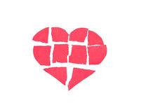Broken heart,Heart made of paper Royalty Free Stock Image