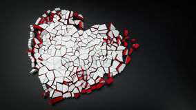 Broken heart of the ice 3d illustration. Broken heart of the ice with copy space 3d illustration Stock Photo