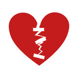 Broken heart icon. Broken red heart over white background. vector illustration Royalty Free Stock Photo