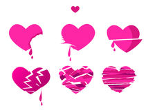 Broken heart icon set vector illustration. Pink love symbol. relationship health concept Stock Photos