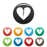 Broken heart icons set color vector. Broken heart icon. Simple illustration of broken heart vector icons set color isolated on white Royalty Free Stock Photo