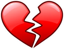 Broken heart icon. Vector design of a broken heart icon Royalty Free Stock Images