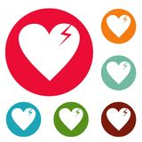 Broken heart icons circle set vector. Isolated on white background Stock Image