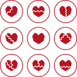 Broken heart icons. Broken heart. Set of red flat icons Stock Image