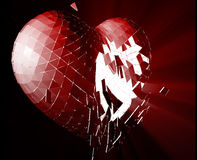 Broken heart illustration. Broken shattered heart lost love glowing abstract illustration Royalty Free Stock Image