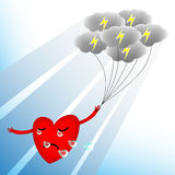 Broken heart illustration. Illustration of a broken heart is crying when dark clouds lighting upon its head Royalty Free Stock Images