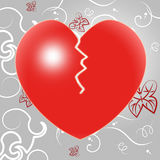 Broken Heart Indicates Valentines Day And Crack Royalty Free Stock Photos