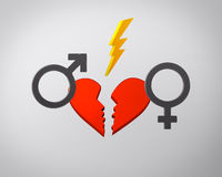 Broken heart, lightning and gender symbols Royalty Free Stock Photo